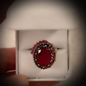 RUBY SAPPHIRE ART RING Sz 10 Solid 925 Silver/Gold
